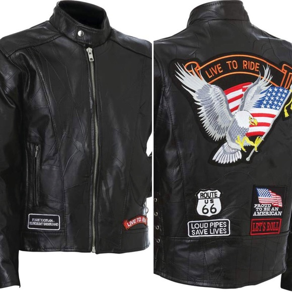 Pants Rock Design Genuine Buffalo Leather Motorcycle Jacket Clothing, Shoes & Accessories